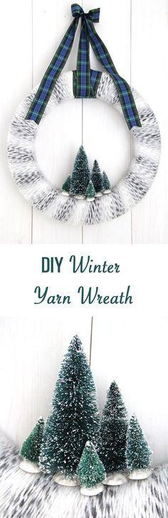 Winter Yarn Wreath with Bottle Brush Trees