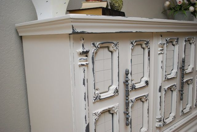 White and Grey Distressed Buffet