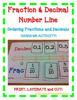 Fraction and Decimal Number LineOrdering Fractions and Decimals HANDS-ON ACTIVITY!Use this FUN activity to teach, review, and assess your students!Great for whole class activity with partners and in small group instruction.Just Print, Laminate, and Cut!Notice the Orange OUTLINE of the Number Line?