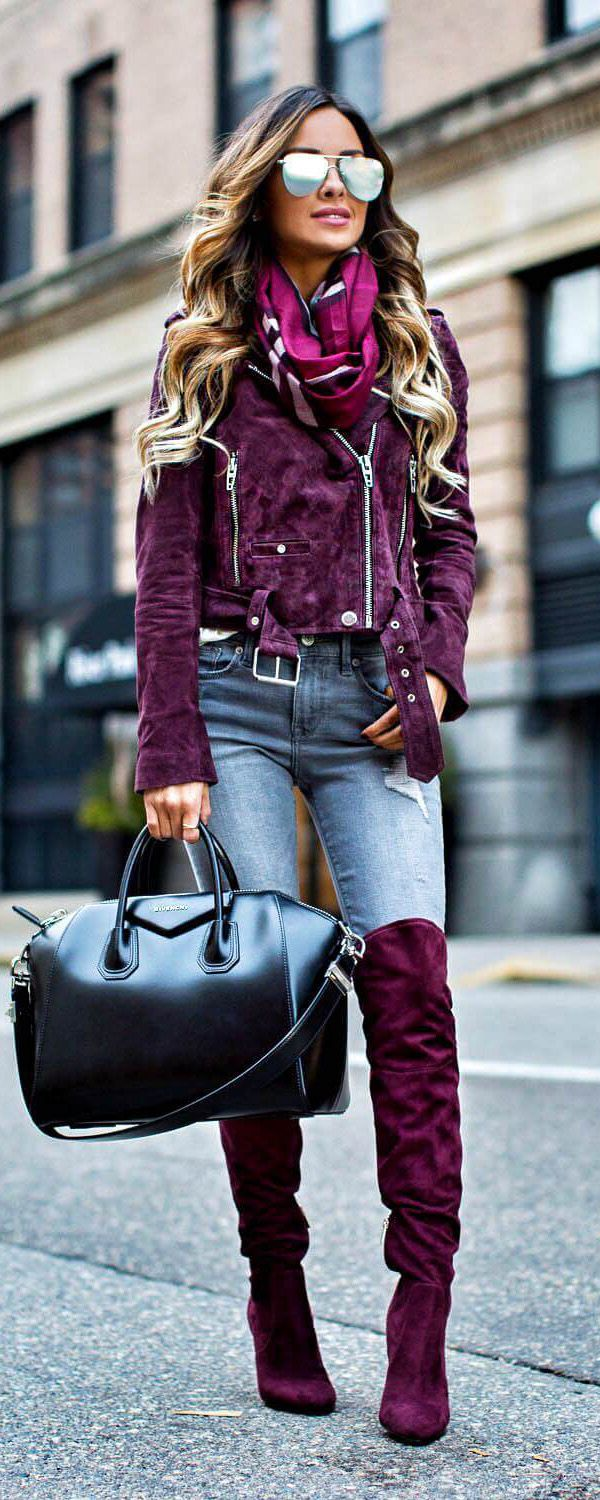 Burgundy suede jacket and oak boots