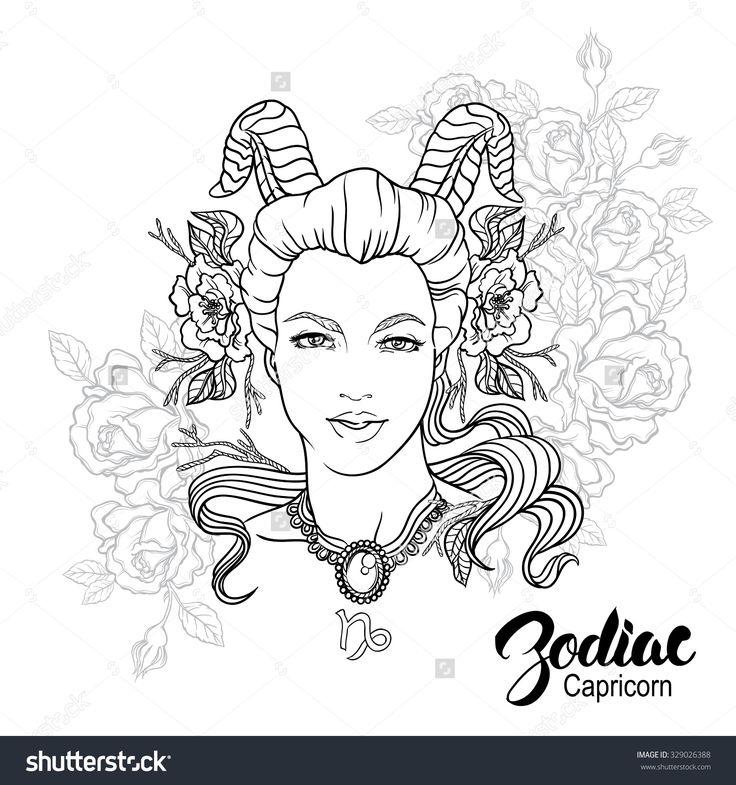 Zodiac Capricorn Girl Coloring Page