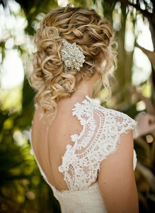 Beach Wedding Updo Hairstyles For Long Curls Hair, White beach wedding dresses ~ Feenwedding.Com