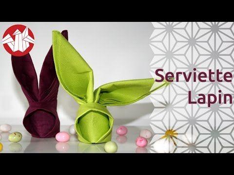 Origami pour Pâques - Serviette lapin