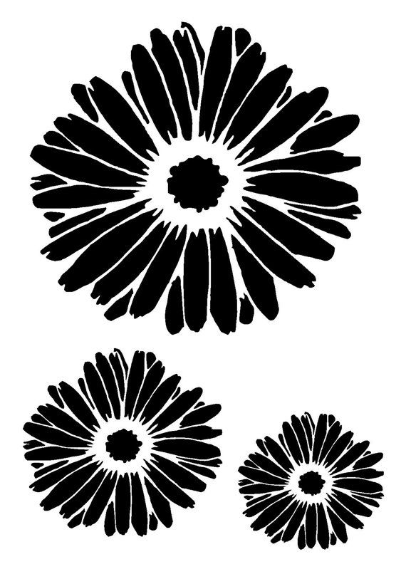 8.3/11.7 Gerbera flower stencil 3 flowers. A4. by LoveStencil