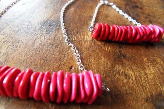 Parure collier sautoir et bracelet perles fimo rose