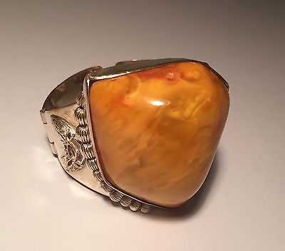 Антикварная стерлинговое серебро и желтый яичный желток балтийский янтарь заявление браслет 84 г