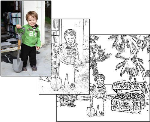 How to make a coloring book for your child out of your family photos...