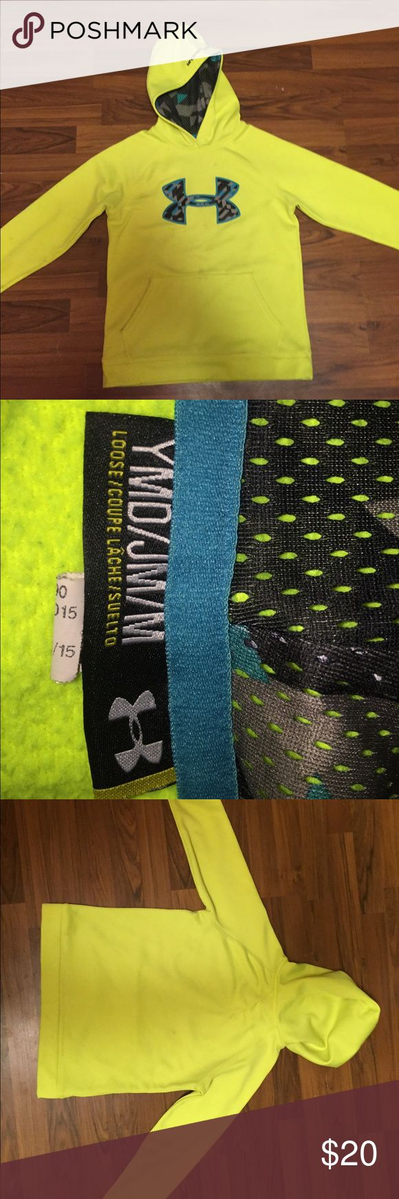 Youth medium under armor hoodie Highlighter yellow under armor hoodie. Has a few tiny stains that will wash out. Great condition. Under Armour Shirts & Tops Sweatshirts & Hoodies