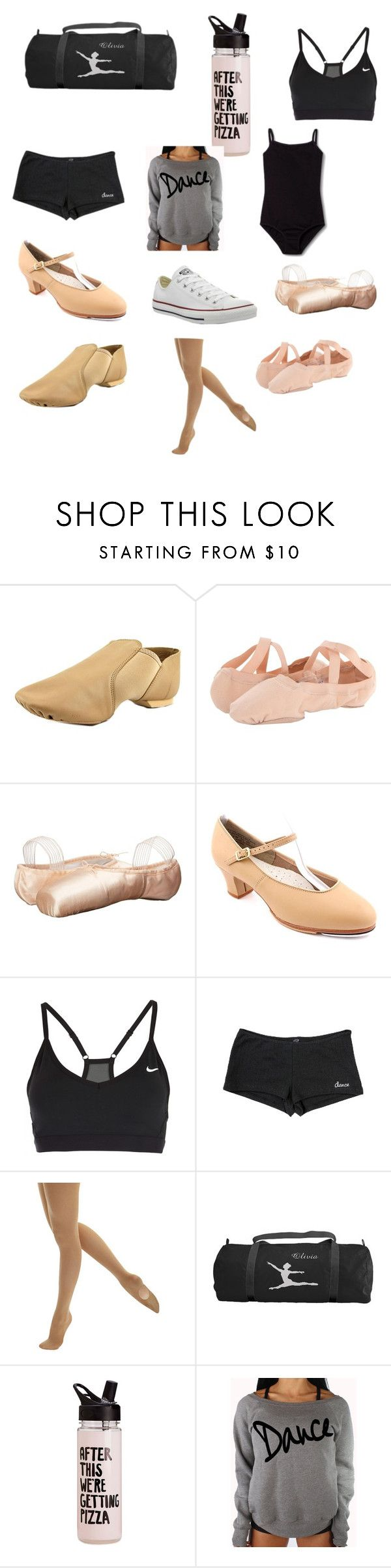 """""""Dance Bag Essentials"""" by montrosewilson ❤ liked on Polyvore featuring Capezio, Bloch, Sansha, NIKE, Danshuz and Converse"""