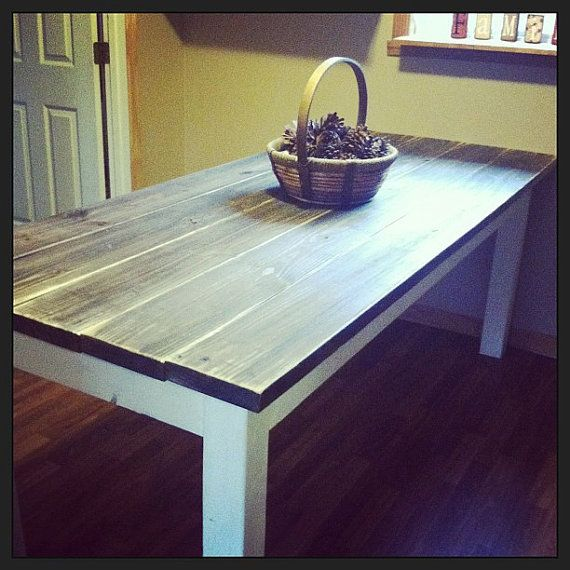 6 FT Primitive Distressed Dark Walnut Stained Antique Country White FAR