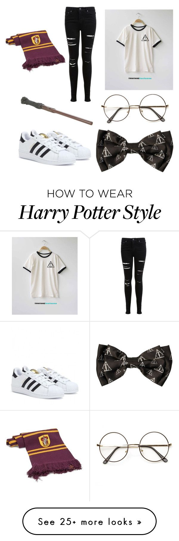 """Harry Potter"" by joleinlagendijk on Polyvore featuring Miss Selfridge, adidas and Elope"