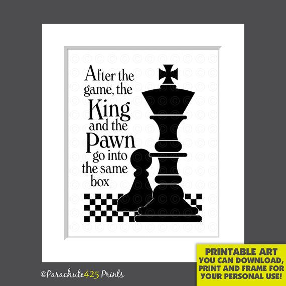 Chess Printable King and Pawn chess quote print chess gift