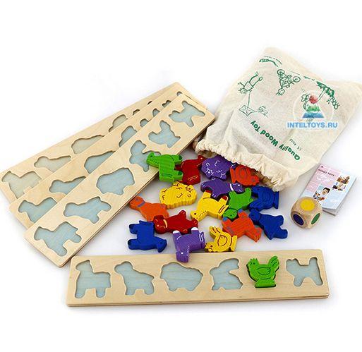 Игра «Зоопарк» (GoGo) – это необычная, забавная и очень увлекательная версия лото для самых маленьких. Вместо бочонков здесь разноцветные фигурки животных, а вместо карточек с номерами – деревянные рамки с контурами этих фигурок.  Игра предназначена для 2-4 участников старше 3 лет. На выбор им предлагается целых два варианта правил.