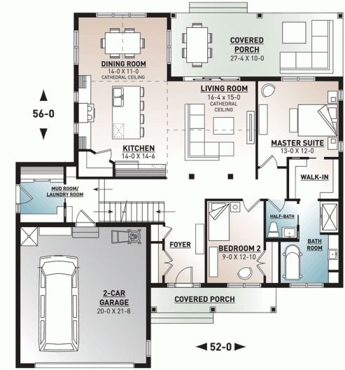 2-Bed Northwest Traditional Home Plan with Bonus Room – 22536DR   Architectural …