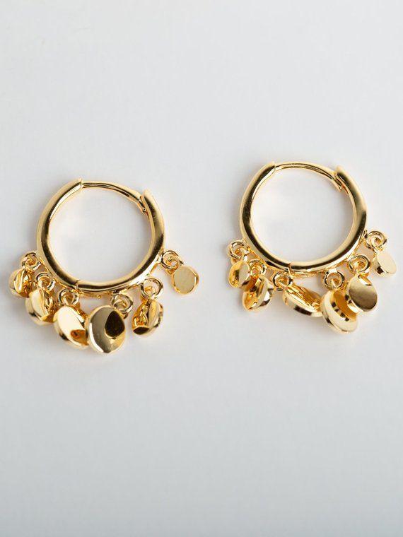 873a1fefecf2c Disc hoop earrings - Coin hoop earrings - Mini hoops - Dainty hoop ...
