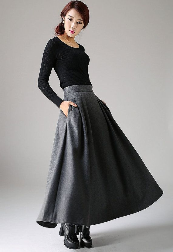 maxi grey skirt winter wool skirt long pleated skirt by xiaolizi                                                                                                                                                                                 More