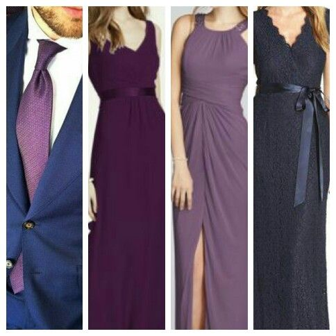 My exact bridesmaids dresses from right to left prune Navy purple color