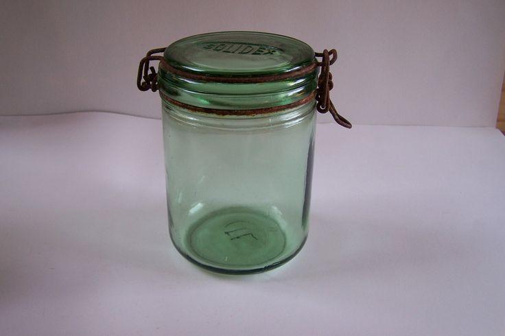 Bocal en verre pot en verre SOLIDEX gravé vintage  1 litre Made in France de la boutique MyFrenchIdeedAntique sur Etsy