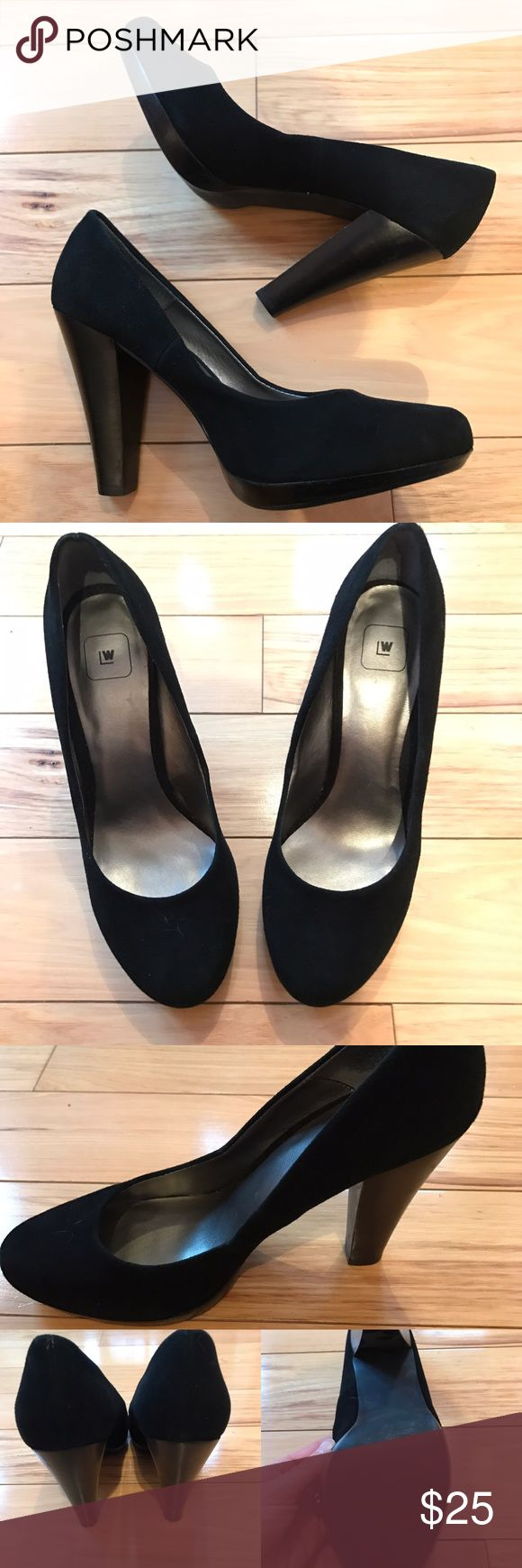 "EUC Wilsons Leather Anna Black Suede Pumps Wilsons Leather Anna Black Suede Pumps. Genuine Suede. Size 9. Look awesome on. Worn a few times. Excellent condition.  Heel to toe length 9.5"" heel height 4.25 Wilsons Leather Shoes Heels"