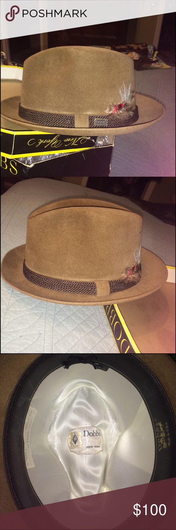 Men's Dobbs Hat Nutmeg suede with 1 inch cord around band with feather next to Dobbs name tag Dobbs Accessories Hats