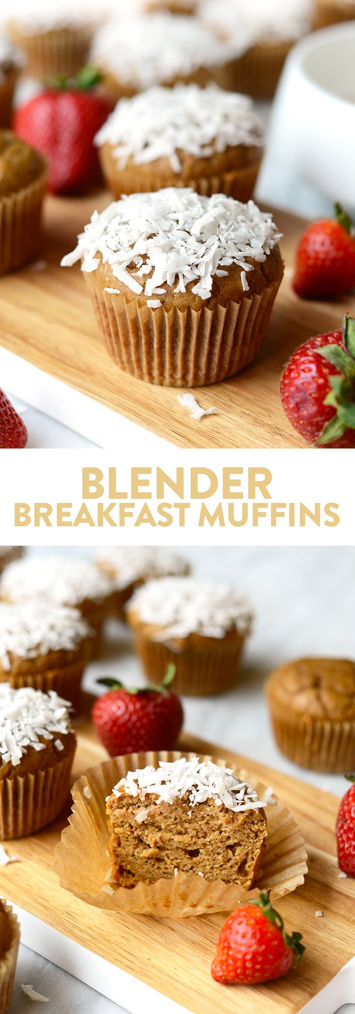 These delicious whole grain blender breakfast muffins are made with pureed strawberries and bananas and 100% white whole wheat flour for a healthy on-the-go breakfast.