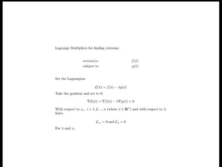 Lagrange Multiplier Method