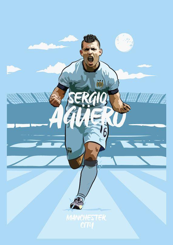 Sergio Aguero Manchester City Print by KieranCarrollDesign