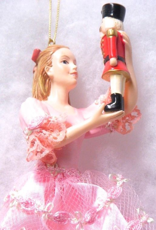 """Group of Six (6) (Nutcracker Ballet Clara 7.75"""" in Pink Gown Christmas Ornaments"""