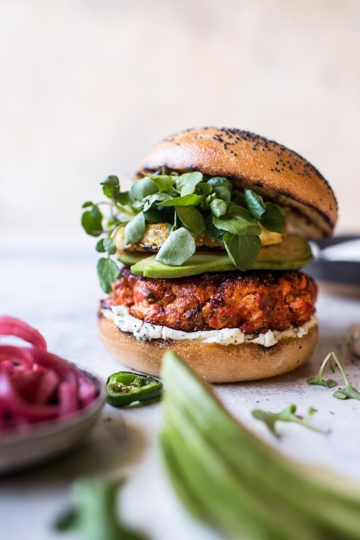 Blackened Salmon Burgers With Herbed Cream Cheese Video Half Baked Harvest Recipe Healthy Frozen Meals Great Burger Recipes Salmon Recipes