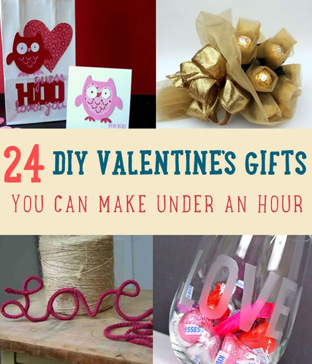 It's almost Valentine's Day & you haven't bought yet any gift. Here are 24 DIY Valentine Gifts you can make under an hour for your Valentine & friends!
