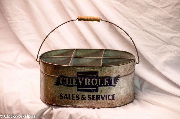 CHEVROLET Galvanized BUCKET CHEVY Sales Service Metal Pale