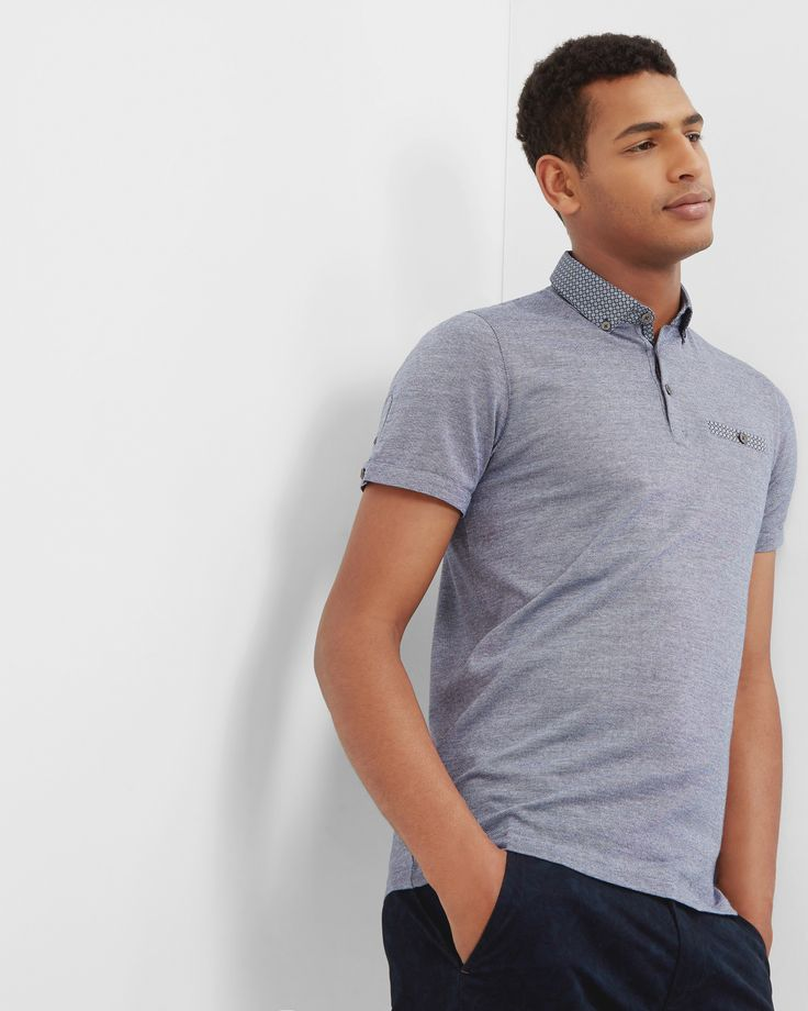 Woven collar cotton polo shirt - Navy | Tops & T-shirts | Ted Baker UK