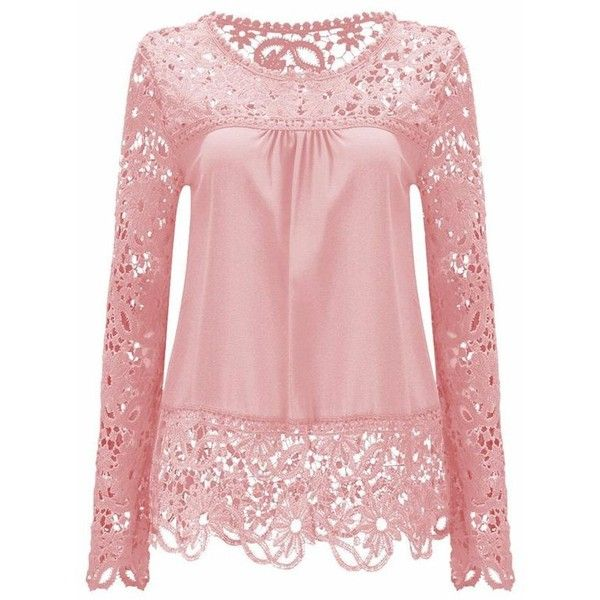 Solid Color Lace Spliced Hollow Out Blouse ($14) ❤ liked on Polyvore featuring tops, blouses, rosegal, shirts, lacy shirt, shirt blouse, lace blouse, lace top and pink blouse
