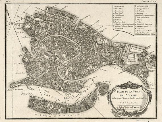 Venice Italy Map Vintage 1764  13x17 or 8.5x10 by PelicanViews, $10.95