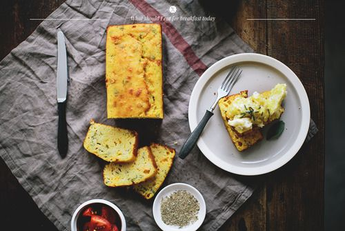 Cheese and herb cornbread with scrambled eggs... Such a great idea. There's an awesome Cheese & Jalapeño Corn Bread recipe in my cookbook #DecadesOfDecadence