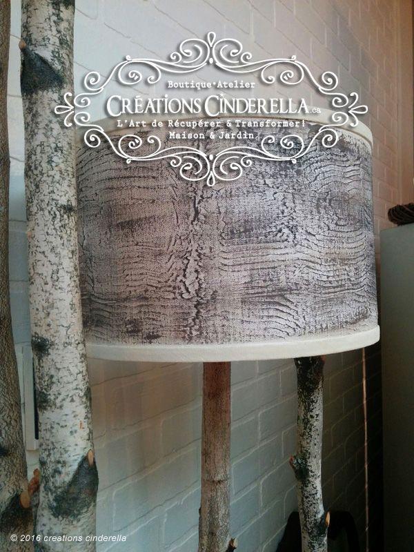 Faux-Finis écorce de boulot sur une abat-jour récupérée...Une création de la boutique • atelier CréationsCinderella.ca