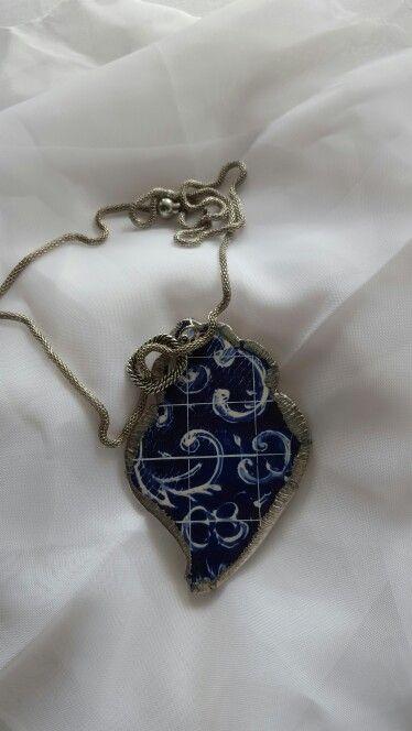 Blue Tile Heart  Ref 002  Hand made