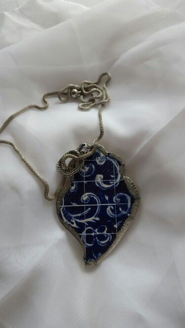 Blue Tile Heart  Ref 002  Hand made