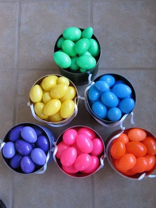 Do a color coded Easter egg hunt! Great for kids of various ages - everybody ends up with the same amount of eggs in their basket. Saving this idea!