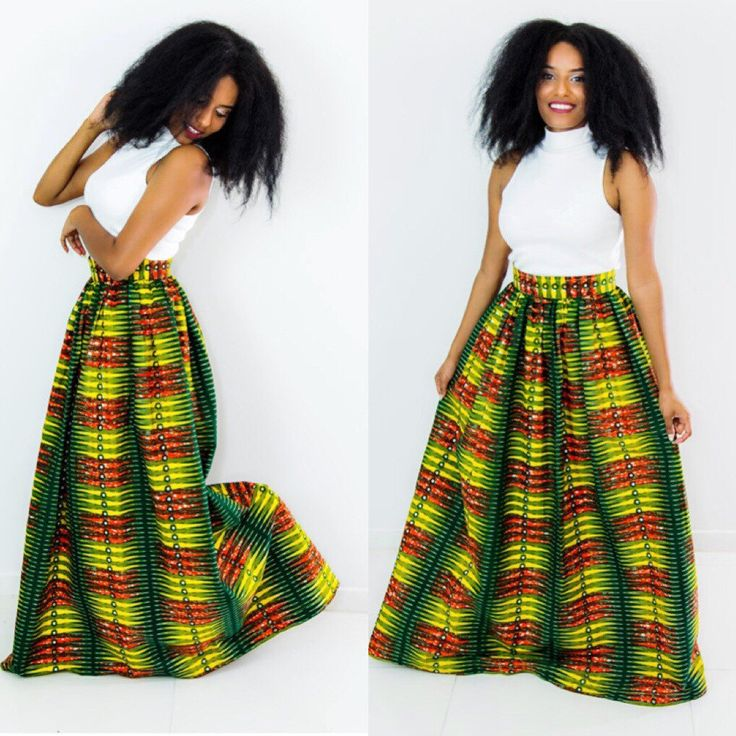 """Fobiwaa Skirt is a must have, Quality Ankara., 100% cotton, 45"""" long and it lined."""
