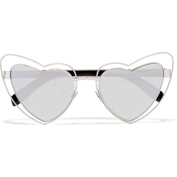 Saint Laurent New Wave 197 LouLou heart-shaped silver-tone mirrored... (€395) ❤ liked on Polyvore featuring accessories, eyewear, sunglasses, glasses, silver, hearts, mirror lens sunglasses, cat eye sunglasses, silver mirror sunglasses and cateye sunglasses