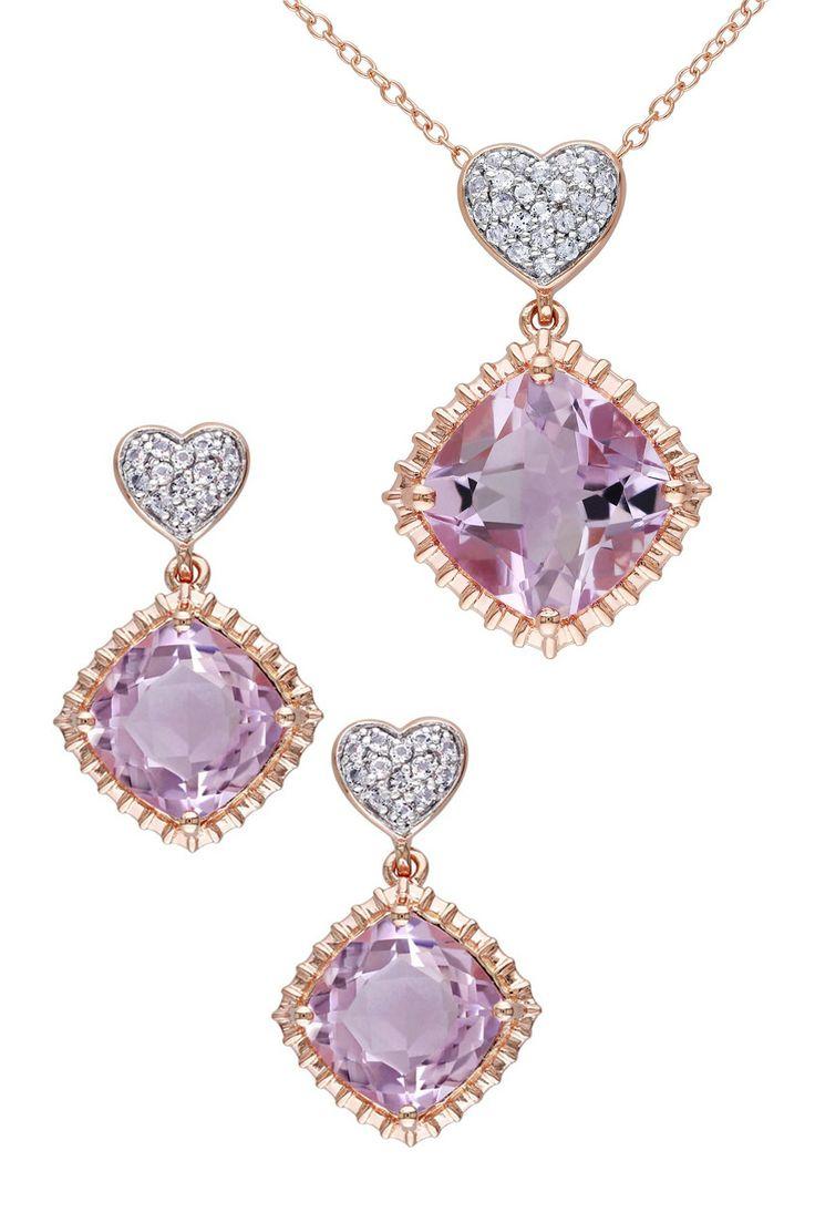 Rose de France & White Topaz Pendant Necklace & Earrings Set