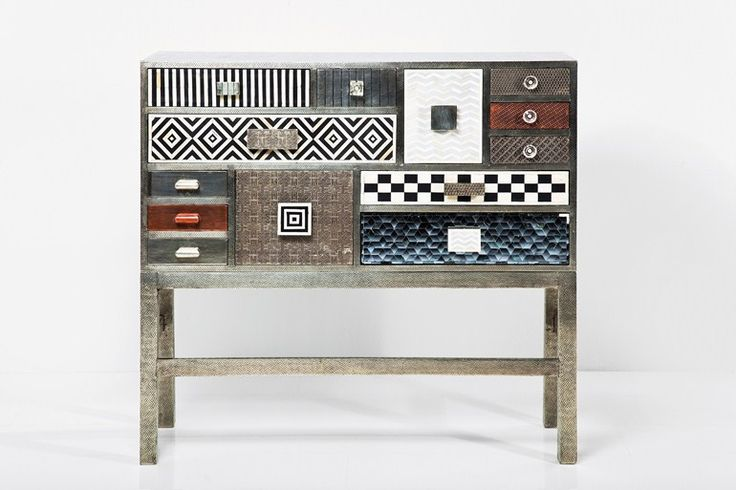 Free standing silver leaf chest of drawers Chalet by KARE-DESIGN