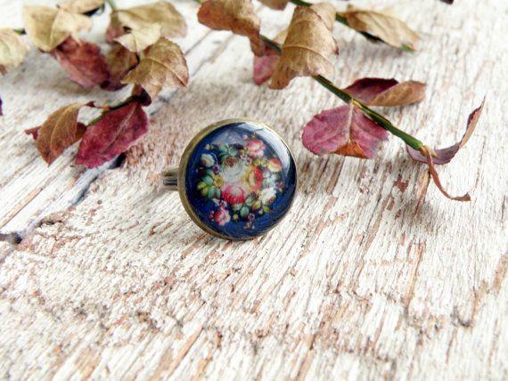Цветочный узор кольцо синий кольцо розовый кольцо пион кольцо Бохо ювелирные изделия загородном кольцо традиционной модели ювелирных изделий Богемный цыганский стиль кольцо