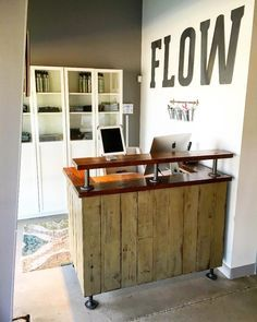 FLOW Cycle Studio Reception Desk | Lazy Guy DIY - Casual DIY  Woodworking - Check out my new build! #woodworking