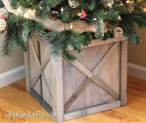 DIY Scrap Wood Crate Christmas Tree Stand via www.TheKimSixFix.com