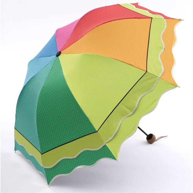 Pretty Rainbow-Colored Double-Layered Flouncing Wave Dome Umbrella
