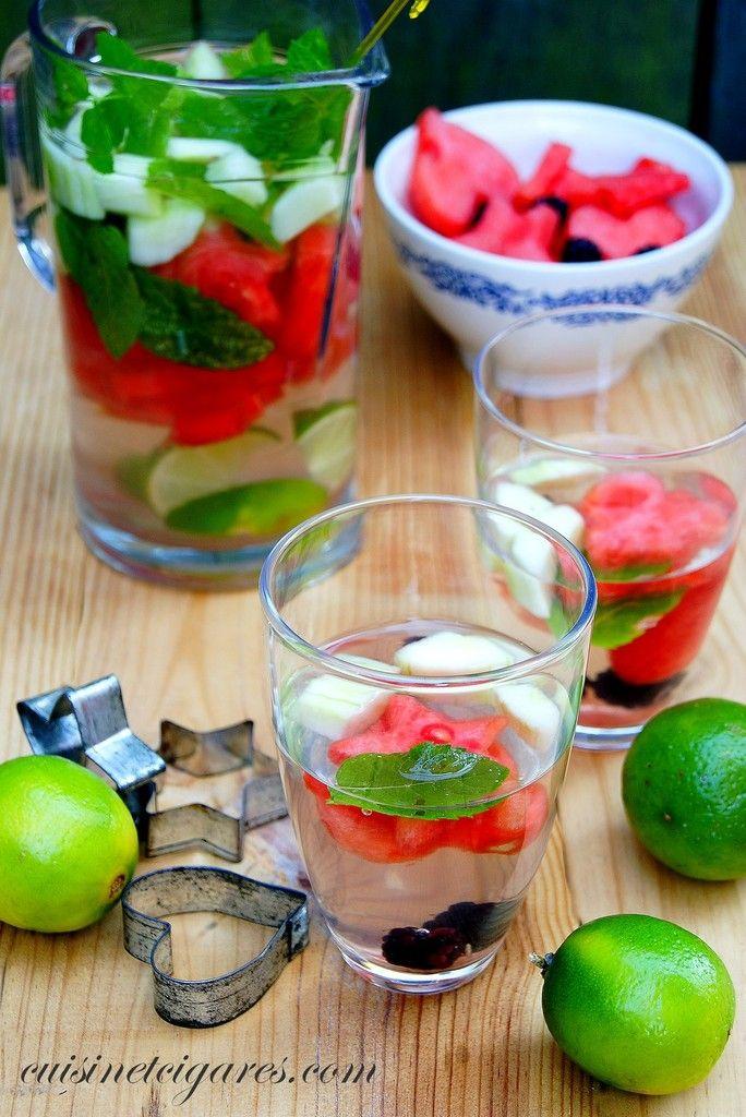 Il faut boire… buvons de l'Eau Aromatisée ! Pastèque, concombre, citron, menthe…