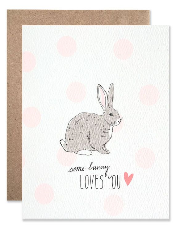 """The perfect note to tell your little Easter bunnies how loved they are, or to simply spread a little springtime love. Cute furry animals + puns = the best. maker Hartland Brooklyn size A2 