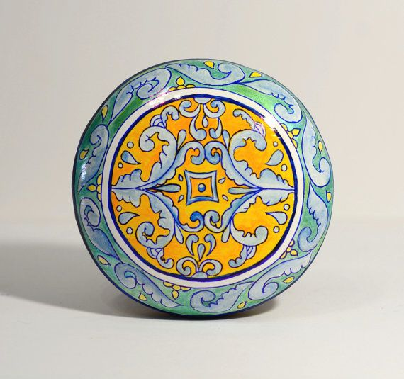 Painted stone, sasso dipinto a mano. Mandala art with Mediterranean colors